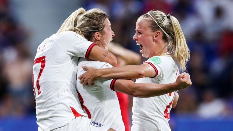 Ellen White of England celebrates her goal
