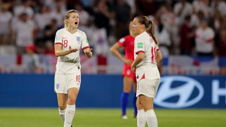 LYON, FRANCE - JULY 02: Ellen White of England reacts after a goal is disallowed for offside via VAR during the 2019 FIFA Women's World Cup France Semi Final match between England and United States of America at Stade de Lyon on July 2, 2019 in Lyon, France. (Photo by Molly Darlington - AMA/Getty Images)