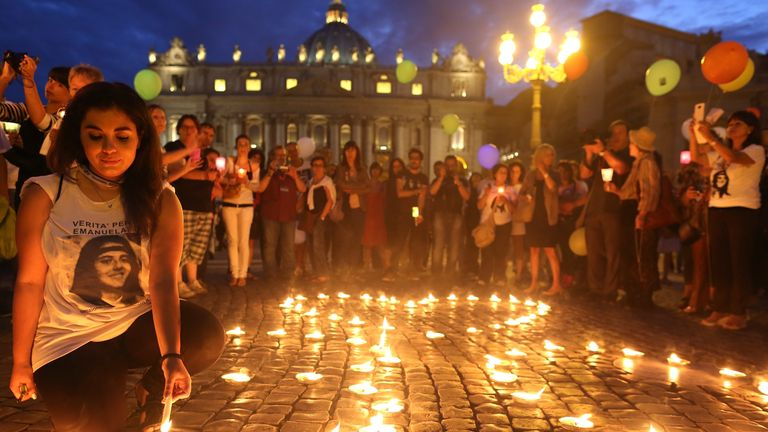 People gather in St. Peter's Square to mark the 30th anniversary of the disappearance of Emanuela Orlandi, on June 22, 2013 in Vatican City, Vatican