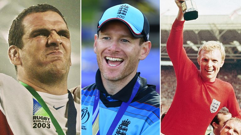 Eoin Morgan (centre) has cemented his place in English sporting history