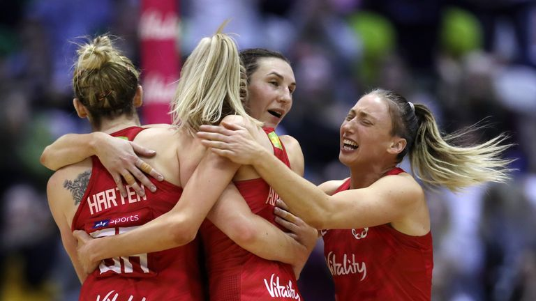 during the Vitality Netball International Series match between England Vitality Roses and Australian Diamonds, as part of the Netball Quad Series at Copper Box Arena on January 20, 2019 in London, England.