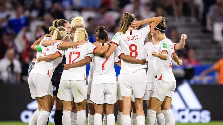 England women at the start of the second half during the FIFA Women's World Cup France 2019 semi final match between England and United States of America at Stade de Lyon on July 02, 2019 in Lyon, France