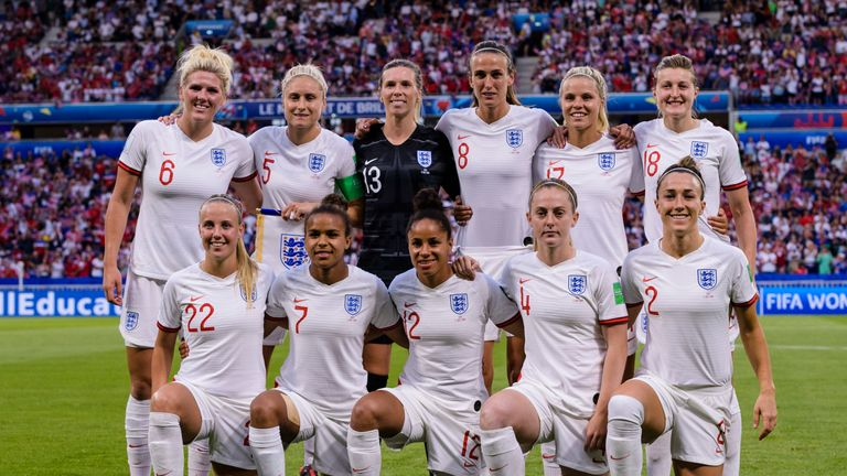England Squad poses for team photo with Millie Bright, Steph Houghton, Carly Telford, Jill Scott, Rachel Daly, llen White, Beth Mead, Nikita Parris, Demi Stokes, Keira Walsh, Keira Walsh and Lucy Bronze during the 2019 FIFA Women's World Cup France Semi Final match between England and USA at Stade de Lyon on July 2, 2019 in Lyon, France