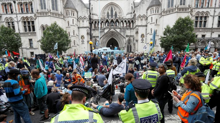 Climate change protesters disturb London with 'summer uprising'.