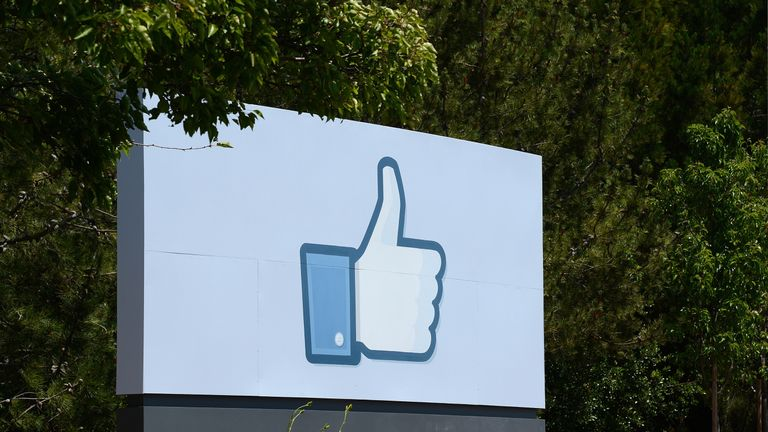 The sign at the entrance to the Facebook main campus in Menlo Park, California, May 15, 2012. Facebook, the world's most popular internet social network, expects to raise USD $12.1 billion in what will be Silicon Valley's largest-ever initial public offering (IPO) later this week. AFP PHOTO / ROBYN BECK (Photo credit should read ROBYN BECK/AFP/Getty Images)
