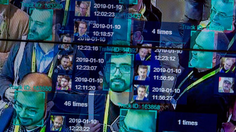 Facial recognition technology is tested during a recent event in the US. File pic