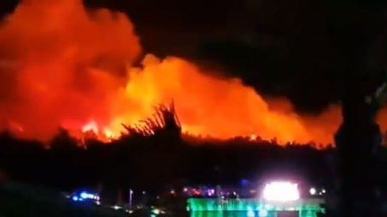 Festival goers evacuated after blaze breaks out in Croatia.