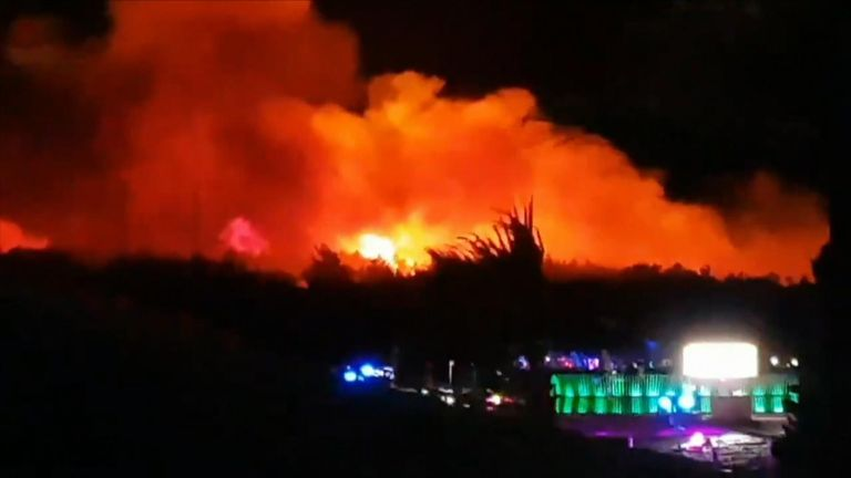 The fire was on the outskirts of the festival