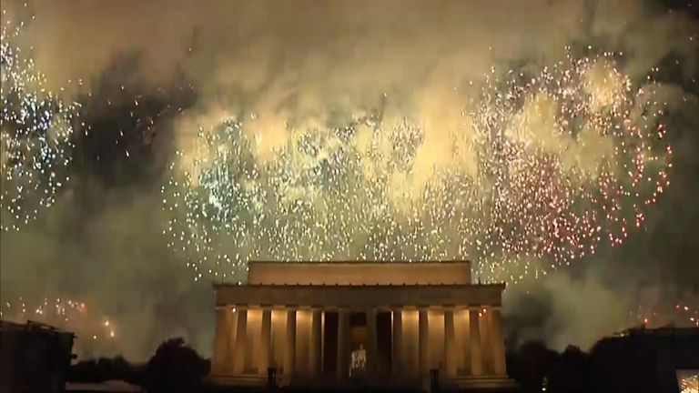 "A massive fireworks display was held near Washington DC's Lincoln Memorial to mark Independence Day after President Trump celebrated the story of America as ""the greatest political journey in human history""."
