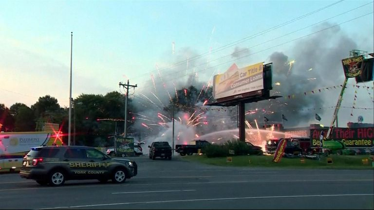 A fireworks shop caught on fire in South Carolina igniting its stock and setting off a dramatic display ahead of the 4 July celebrations.