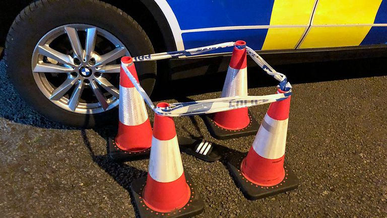 A flip flop that was cordoned off as police attempted to track down a driver who failed to stop in Clay Cross