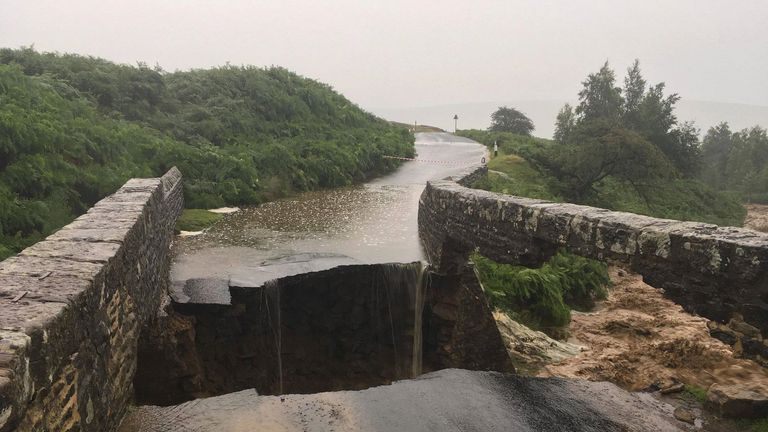 A bridge appears to have collapsed in Grinton due to heavy flooding
