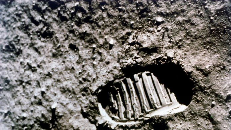 The first footprint on the Moon', Apollo 11 mission, July 1969. Boot-print of US astronaut Neil Armstrong, first man to set foot on the Moon, clearly visible in the lunar soil. The Apollo 11 Lunar Module, code named Eagle, with Neil Armstrong and Buzz Aldrin on board, landed in the Sea of Tranquillity on 20 July 1969. Apollo 11 was the fifth manned Apollo mission, and was the first to land on the Moon. Artist NASA. (Photo by Heritage Space/Heritage Images/Getty Images)