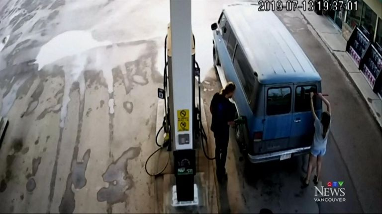 In the CCTV, Lucas is seen filling the van's petrol tank, while Deese washes the back windows. Pic: CTV
