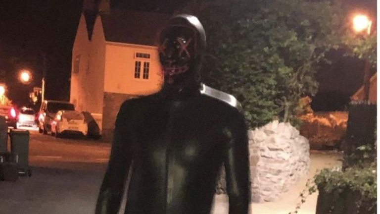 A man wearing a gimp suit has been terrorising villagers in Claverham, Somerset. Pic: Avon and Somerset Police