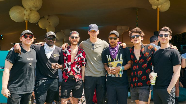 Undated handout photo issued by EE of (left to right) Rupert Grint, Daniel Kaluuya, Kyle Soller, Will Poulter, Jacob Anderson, Edward Bluemel and inside the EE VIP section at this weekend's Glastonbury Festival at Worthy Farm in Somerset. PRESS ASSOCIATION Photo. Issue date: Sunday June 30, 2019. See PA story SHOWBIZ Glastonbury. Photo credit should read: Nathan Gallagher/PA Wire NOTE TO EDITORS: This handout photo may only be used in for editorial reporting purposes for the contemporaneous ill