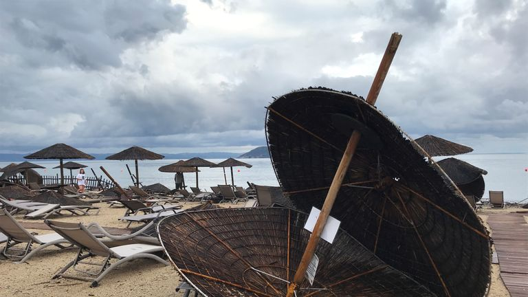 Damages at the beach at a hotel in Porto Carras, Halkidki, Greece July 11, 2019 after severe weather hit Greece. REUTERS/Iona Serrapica
