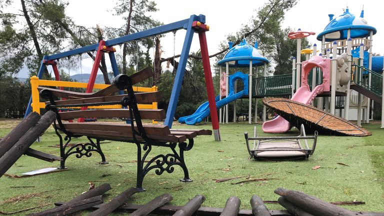 Damages at a playground at a hotel in Porto Carras, Halkidki, Greece July 11, 2019 after severe weather hit Greece. REUTERS/Iona Serrapica