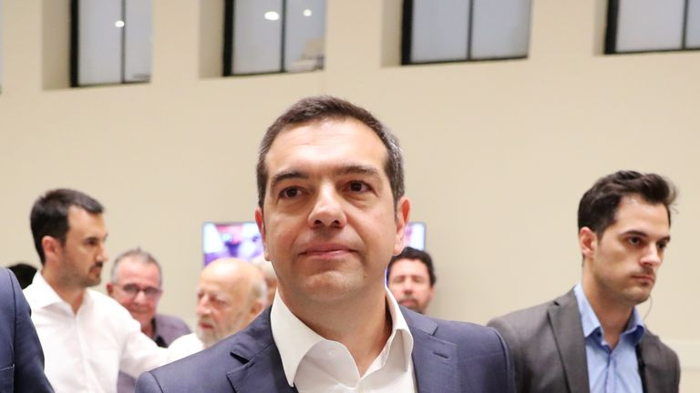Greek Prime Minister and leader of leftist Syriza party Alexis Tsipras talks after election defeat