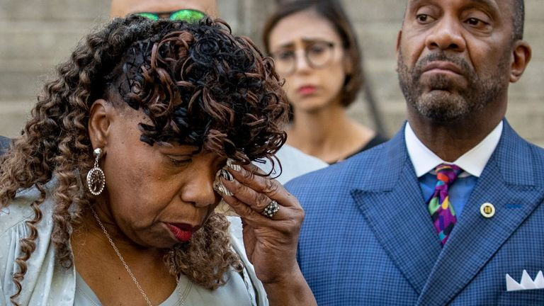 Mr Garner's mother wiped away tears as she spoke to reporters on Tuesday