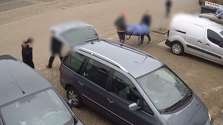 CCTV footage of Hama loading his car with the boat, motors and life-jackets. Pic: Home Office