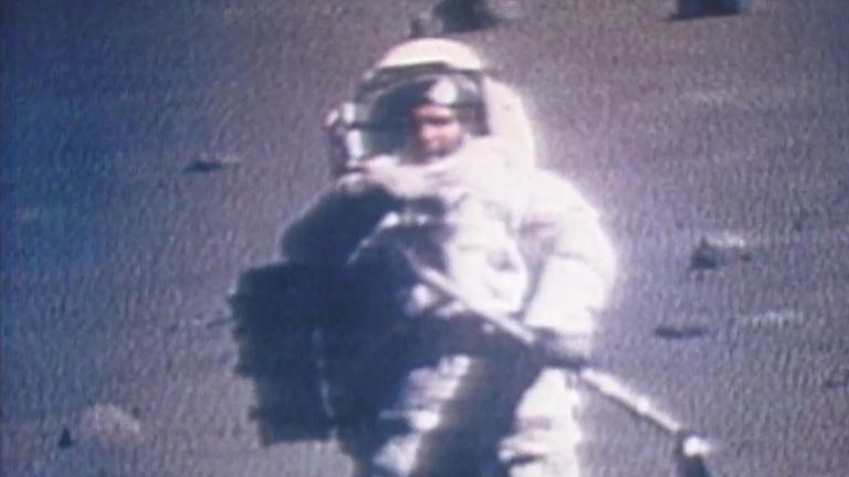 Harrison Schmitt pictured on the moon during the Apollo 17 mission