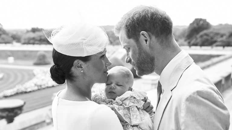 Meghan and Harry pictured with Archie on the day of his christening