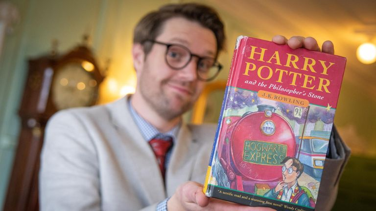 Jim Spencer of Hansons Auctioneers holds the rare Harry Potter first edition