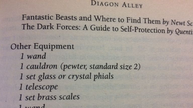 The words '1 wand' feature twice in an equipment list inside the book