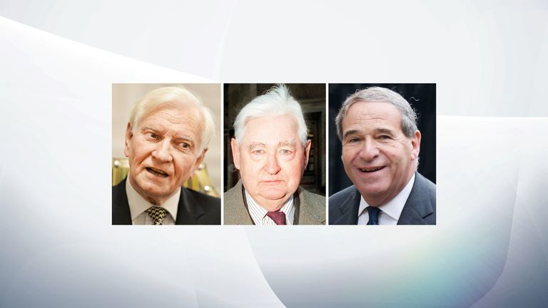 Undated file photos of (left to right) former Conservative MP Harvey Proctor, Lord Bramall, and late ex-home secretary Lord Brittan. A man known only as Nick, whose claims sparked a major police investigation into an alleged Westminster paedophile ring, is to be charged with 12 counts of perverting the course of justice and one count of fraud, the Crown Prosecution Service has said.