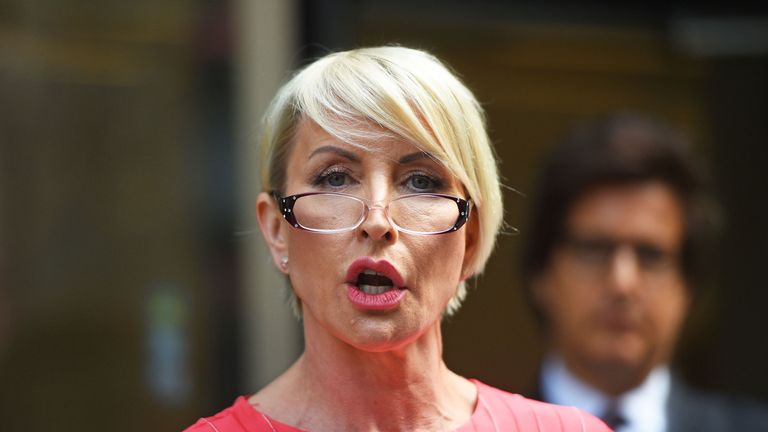Heather Mills speaks outside the Rolls Building in London after receiving a public apology at the High Court after bringing a phone-hacking claim action against News Group Newspapers.