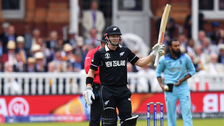 New Zealand's Henry Nicholls celebrates his half century