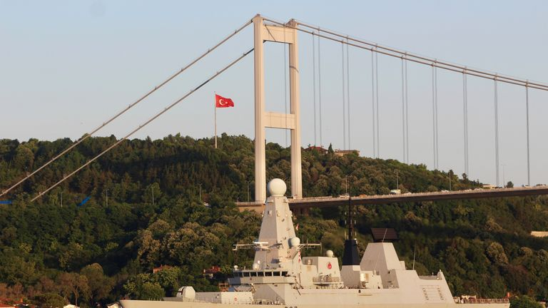 HMS Duncan, pictured in Istanbul, has been sent to the Gulf