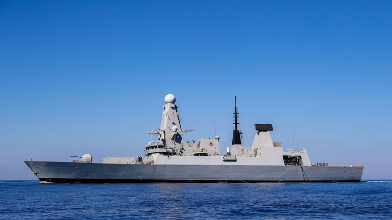 The Royal Navy vessel HMS Duncan w