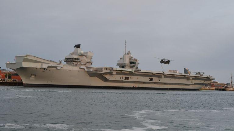 A chinook departs from HMS Queen Elizabeth in June