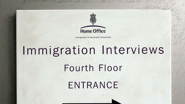 LONDON - OCTOBER 04: A sign rests on a wall of Lunar House, the headquarters of Britain's Immigration and Nationality Directorate on October 4, 2006 in Croydon, England. The IND is a part of the Home Office and is an immigration processing centre. (Photo by Scott Barbour/Getty Images)