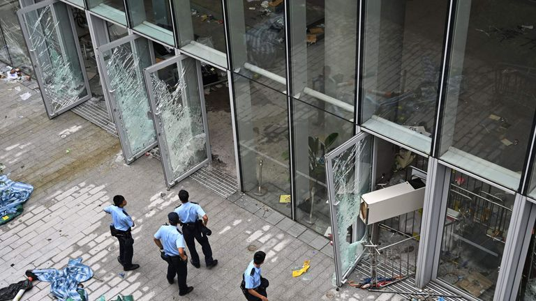 Police outside the Legislative Council building in Hong Kong