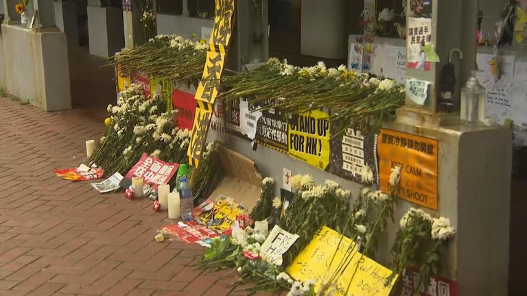A memorial to the man who died wearing a yellow rain coat