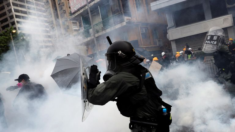 Image result for Tear gas fired as Hong Kong police, protesters clash