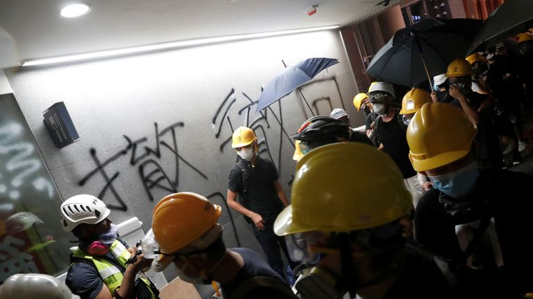 Protesters break into the Legislative Council building in Hong Kong