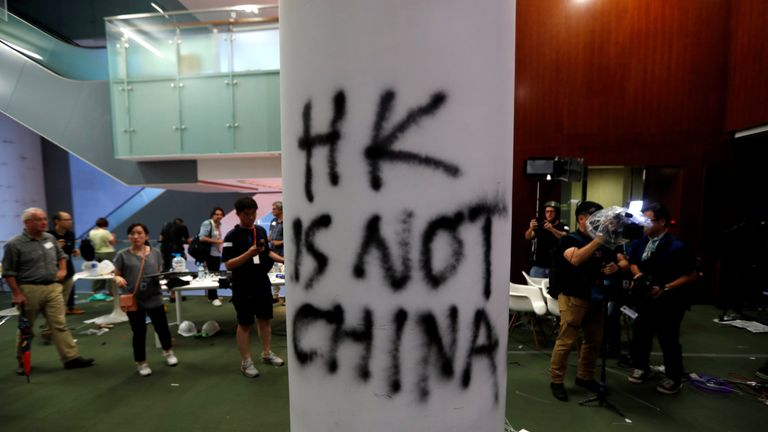 A view shows damages inside the Legislative Council building on Wednesday after protesters stormed it during a demonstration on the anniversary of Hong Kong's handover to China, in Hong Kong