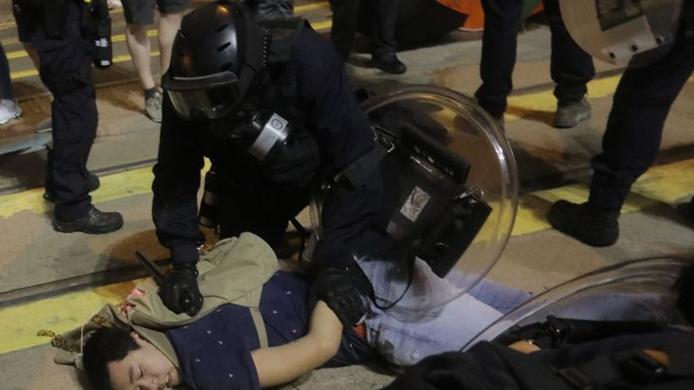 The demonstration was the second consecutive day of violence in Hong Kong