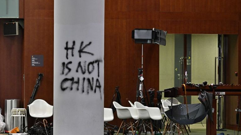 The aftermath of the Legislative Council building after protesters broke in