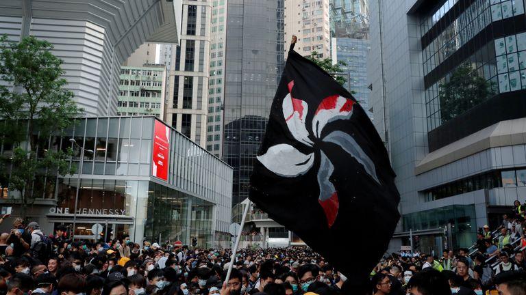 Protesters hold aloft a bloodstained Hong Kong territory flag