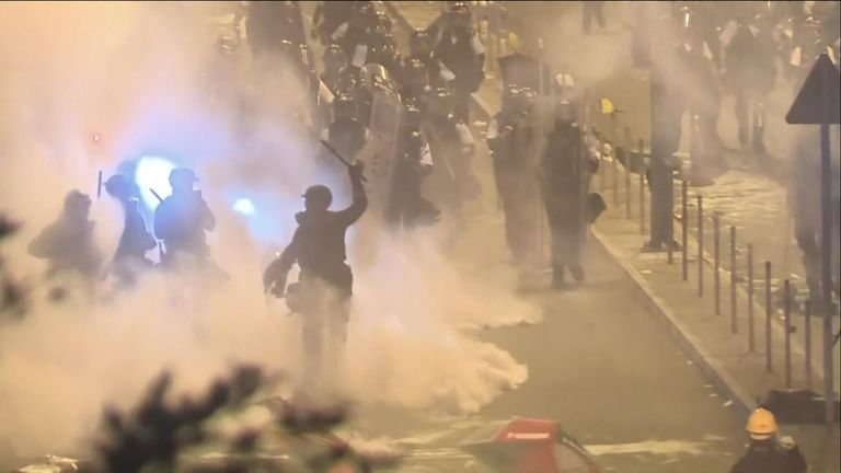 Hong Kong protesters condemned after being rushed by police