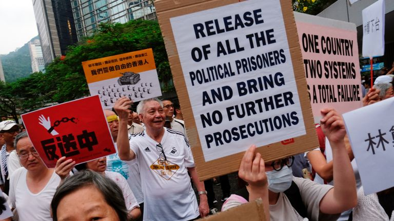 Around 2,000 elderly people marched in Hong Kong to protest against extradition bill