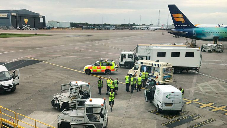 An ice cream van on the tarmac at Manchester Airport's terminal one. Pic: Philipsconnell/Twitter