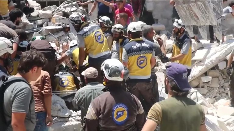 The Syrian Civil Defense, also known as White Helmets, said one of their colleagues was killed in a second airstrike
