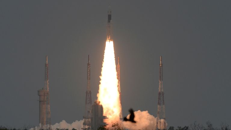 The Indian Space Research Organisation's (ISRO) Chandrayaan-2 (Moon Chariot 2), on board the Geosynchronous Satellite Launch Vehicle (GSLV-mark III-M1), launches in Sriharikota in the state of Andhra Pradesh on July 22, 2019