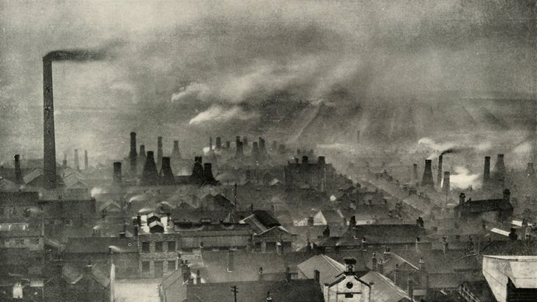 'A Factoryscape in the Potteries', (1938). Smoke from chimneys in the industrial area known as the Staffordshire Potteries, Stoke-on-Trent. Due to the local availability of clay and coal, North Staffordshire became a centre of ceramic production in the early 17th century. Illustration from A History of Everyday Things in England - Done in four parts of which this is the third. The Rise of Industrialism 1733-1851, by Marjorie and C. D. B. Quennell